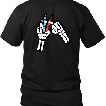 Twenty One Pilots Skeleton Hand 2 Sided Black Mens T Shirt