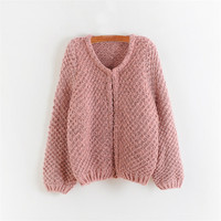 Pink Batwing Sleeve Knitted Cardigan