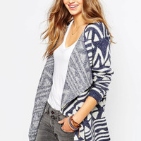 Blue Geometric Print Long Sleeve Knitted Cardigan