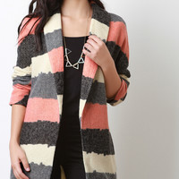 Asymmetrical Stripe Long Sleeves Sweater Coat