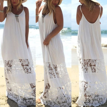 Women Lace Beach Boho Maxi Sundress Sleeveless Long Dress Party Holiday Strapless Dresses = 5617056897