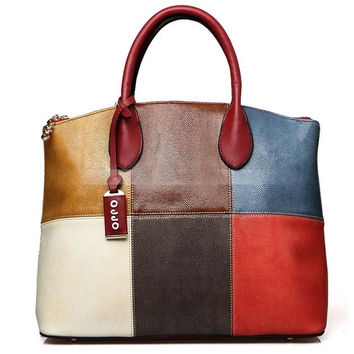 Multi Color Block Leather Tote Hand Bag