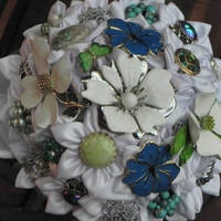 Beach Brooch/Earring Wedding Bouquet by ForeverBouquet on Etsy