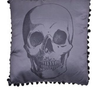 Sourpuss – Anatomical Skull Pillow In Gray/Black Print | Thirteen Vintage