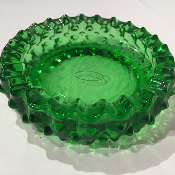 Fenton Green Hobnail Glass Ashtray, Vintage Fenton Green Glass Ashtray,