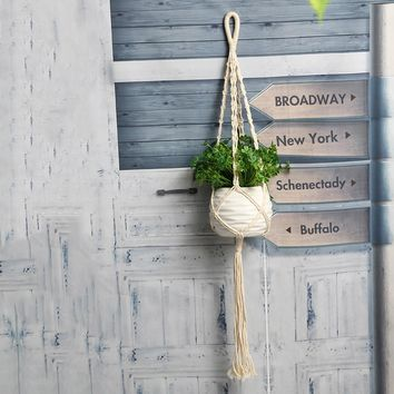 Flower Plant Pot Basket Holder Vintage Macrame Flowerpot Holder Plant Hanging Rope Wall Art Home Decor