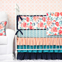 Everly's Garden Ruffle Baby Bedding | Coral and Navy Floral Crib Bedding