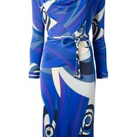 Emilio Pucci Vintage Abstract Print Belted Dress