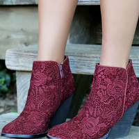 Very Volatile Ophelia Wine Wedge Booties With Crochet Overlay