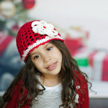 Girl Christmas hat, holiday girl props, crochet toddler hat, red girl beanie, toddler girl gift, girl flower cap, toddler crochet 4 year old