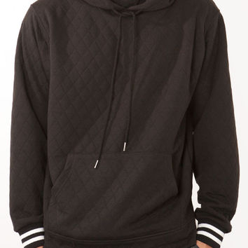 LONG SLEEVE QUILTED KNIT HOODIE W/ VARSITY RIB