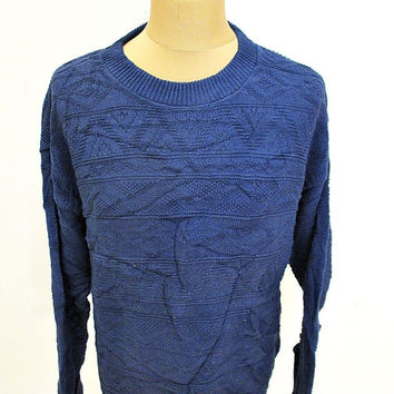 Retro 80's Blue Aztec Pattern Indie Jumper Sweater Medium