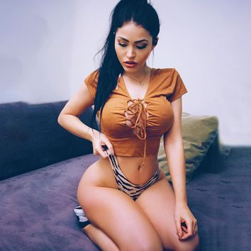 Tall waist midriff deerskin flocking chest strap top female  cultivate one's morality