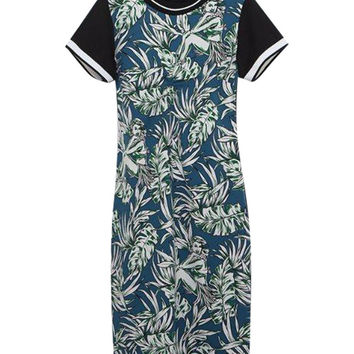 Blue and Black Color Block Tropical Print Mini Dress