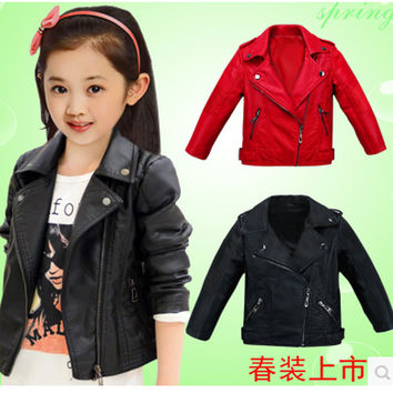 kids coats Children's clothing 2016 fashion spring and autumn baby girls clothes Faux Leather outerwear child jackets 2 color