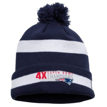 Mens New England Patriots New Era Navy Blue/White Super Bowl XLIX Champions Four-Time Two-Tone Knit Hat