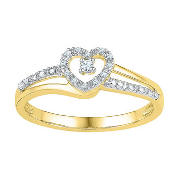 10kt Yellow Gold Womens Round Diamond Heart Love Promise Bridal Ring 1/20 Cttw 101781
