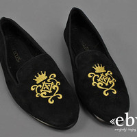 Black Velvet Loafers Black Loafers Gold Loafers Black Slides Black Flats Black Shoes Velvet Flats Embroidered Gold Slip Ons size 6