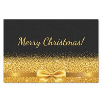 Merry Christmas gold bow and with sparkle on black Tissue Paper