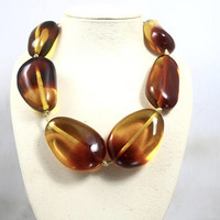 Huge Chunky Amber Resin Necklace, Manouk Bijoux Holland, Retro Statement Jewelry, Adjustable Knotted Cord