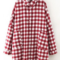 Red White Plaid Flannel Oversized Boyfriend Blouse