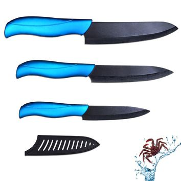 Hot sale ceramic knife set 4 inch utility 5 inch slicing and 6 inch chef knife with black blade + blue handle kitchen knives set