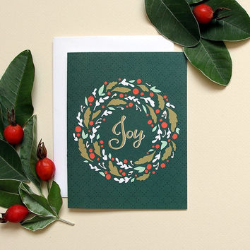 SALE! Joy Wreath Holiday Card