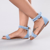 UN Eye Flat Sandal - Denim Blue