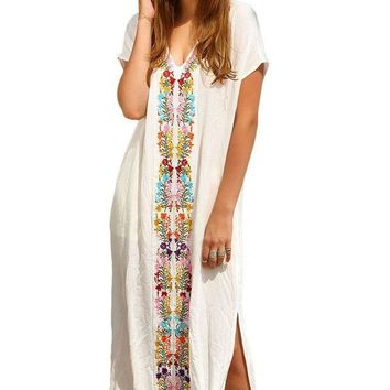 PEAPGC3 2016 Summer Women Floral Maxi Long Dress Bohemia Embroidered Print Side Split Beach Kaftan Sexy Cover-Up Cotton Bikini Swimwear