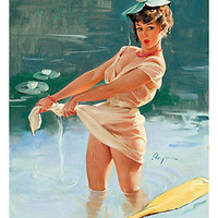 HALF NAKED PIN-UP GIRL in pond poster 24X36 skimpy ADORABLE embarrassed HOT