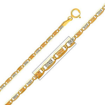 """14K Tri-Color Gold 2.1mm Valentino Diamond Cut Chain Necklace with Spring Clasp (Length: 22"""""""";  Weight: 1.7 grams approx): Necklace"""