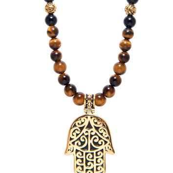 Men's Beaded Necklace with Brown Tiger Eye and Hamsa Hand Pendant