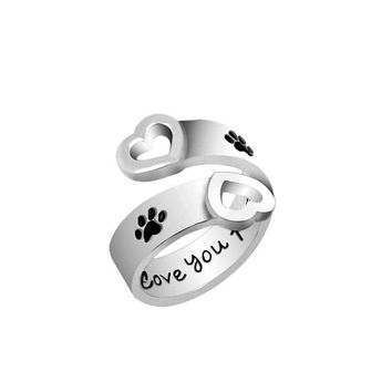 I will love you forever Animal Pet Ring Dog Paw Footprints Hollow Love Heart Jewelry Open Ring For Dog Parent