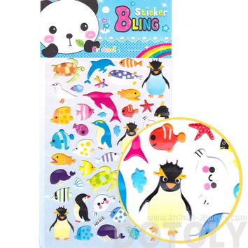 Kawaii Arctic Animal Penguin Fish Turtles Shaped Jelly Stickers for Scrapbooking and Decorating