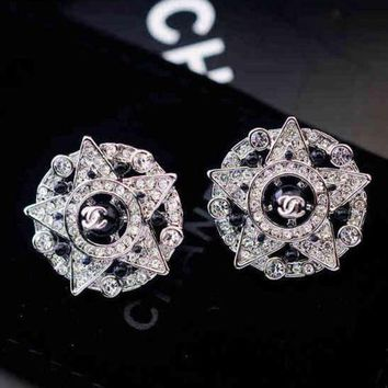 ONETOW Chanel Woman Fashion CC Logo Diamonds Stud Earring Jewelry