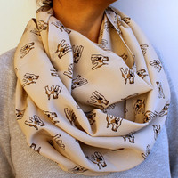 FREE SHIPPING Fox Terrier Dog Printed Infinity Scarf Champagne Vanilla Spring Fashion Women Loop Circle Scarf Chiffon Scarf