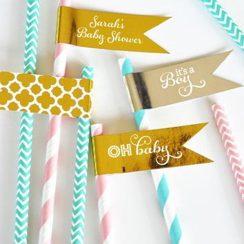 Personalized Metallic Foil Flag Labels - Baby