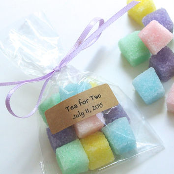 Multi Colored Sugar Cubes Wedding Favor- Rainbow Sugar Mini Favor Bags for Weddings, Baby & Bridal Showers, Mad Hatter Tea Party, High Tea