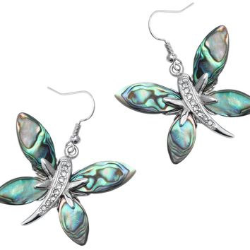 Abalone shell dragonfly butterfly drop dangle earrings jewelry mothers day birthday gifts for women mom her wife dropship H023