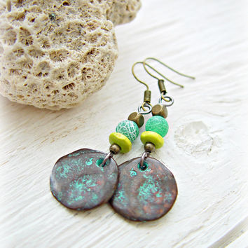 Boho Hippie Earrings - Boho Turquoise Earrings - Ethnic Turquoise Earrings - Tribal Earrings - Boho Gypsy Earrings - Boho Patina Earrings