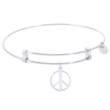 Sterling Silver Confident Bangle Bracelet With Peace Symbol Charm