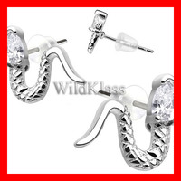 Pair of .925 Sterling Silver CZ Slick Snake Tiny Stud Earrings Cartilage Earring Helix Jewelry Tragus Piercing Hex Conch Auricle