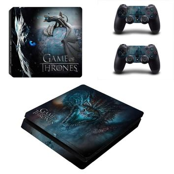 Game Thrones style Skin For Playstation 4 Slim PS4 Slim Skin Sticker for Console +2 PCS Controller Cover Skin Stickers