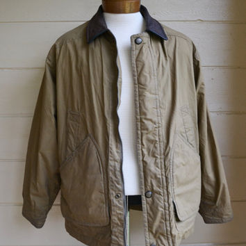Vintage London Fog Jacket Mens Beige Jacket with elbow Patches Size Medium Regular