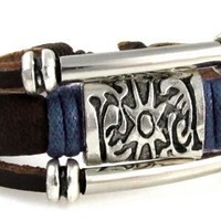 Leather Medallion Zen Bracelet, Fits 6 to 9 Inch Wrists. Gift Box