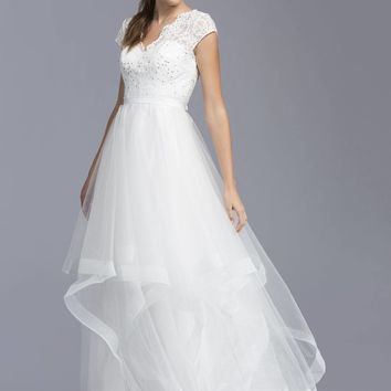 Off White Cap Sleeved Tiered Long Formal Dress V-Neck