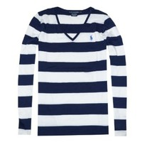 Ralph Lauren Sport Women Pima Cotton Striped Pony Logo Long Sleeve V-Neck T-Shirt (M, Navy/white)