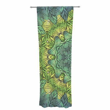 "Art Love Passion ""Fairy Mandala"" Green Yellow Decorative Sheer Curtain"