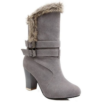 Mid-Calf Boots With Faux Fur and Buckles Design