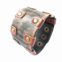 Fashion Punk  Adjustable Leather Wristband Cuff Bracelet - Great for Men, Women, Teens, Boys, Girls 2733s